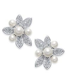Silver-Tone Pavé & Imitation Pearl Flower Stud Earrings