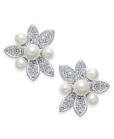 Kate Spade New York Silver-Tone Pavé & Imitation Pearl Flower Stud Earrings