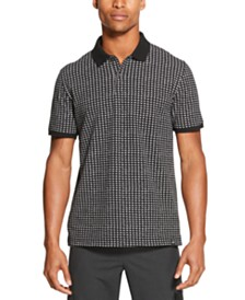 DKNY Men's Performance Stretch Square Print Polo Shirt