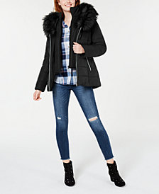 Maralyn & Me Juniors' Hooded Faux-Fur-Trim Puffer Coat