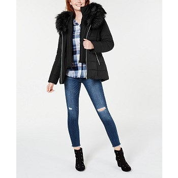 Maralyn & Me Juniors Hooded Faux-Fur-Trim Puffer Coat