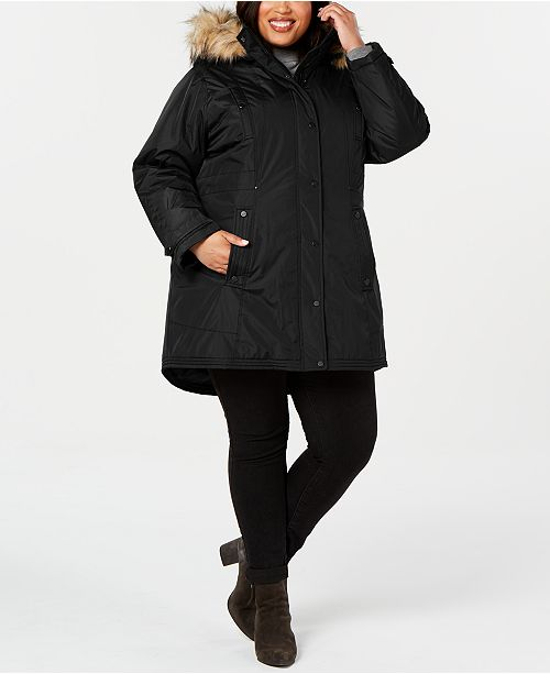 Madden Girl Juniors' Plus Size Hooded Faux-Fur-Trim Parka