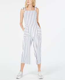 Monteau Petite Striped Cropped Jumpsuit