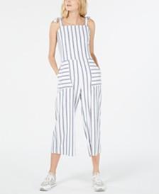 Monteau Petite Striped Cropped Jumpsuit