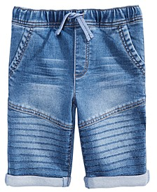 Toddler Boys Stretch Denim Drawstring Moto Shorts, Created for Macy's