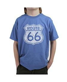 Big Boy's Word Art T-Shirt - Cities Along The Legendary Route 66