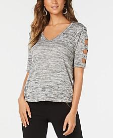 Thalia Sodi Metallic Heathered Cutout-Sleeve Top, Created for Macy's