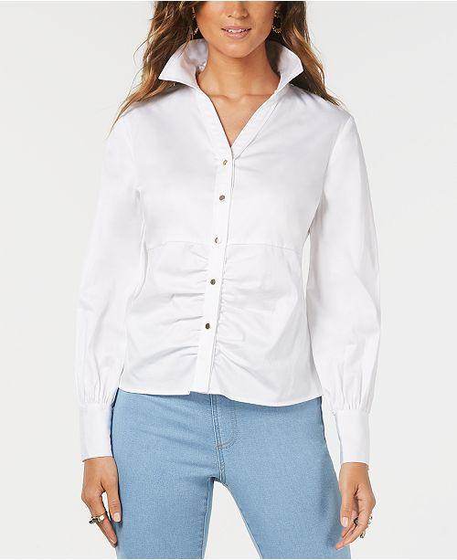 Thalia Sodi Ruched Balloon-Sleeve Shirt, Created for Macy's