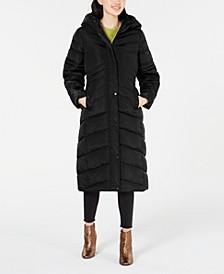 Juniors' Hooded Maxi Puffer Coat