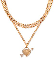 "Pavé Heart Double-Row Pendant Necklace, 16"" + 2"" extender"