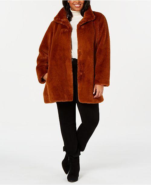 Calvin Klein Plus Size Faux-Fur Coat