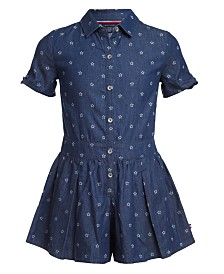 Tommy Hilfiger Big Girls Star-Print Cotton Denim Romper