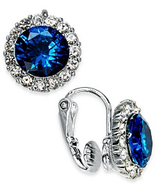 Charter Club Silver-Tone Crystal & Stone Halo Clip-On Button Earrings, Created for Macy's