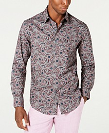 Men's Stretch Fontino Paisley Print Shirt, Created for Macy's
