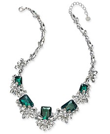 "Charter Club Silver-Tone Crystal & Stone Cluster Statement Necklace, 18"" + 2"" extender, Created for Macy's"