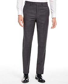 Men's X Slim-Fit Stretch Gray/Burgundy Plaid Suit Separate Pants