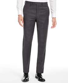 Calvin Klein Men's X Slim-Fit Stretch Gray/Burgundy Plaid Suit Separate Pants