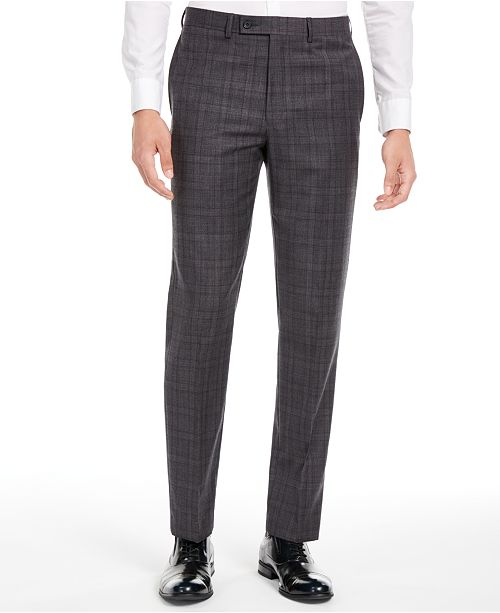 Calvin Klein Men's X Slim-Fit Stretch Gray/Burgundy Plaid Suit Separate Pants