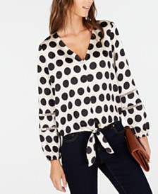 I.N.C. Dot-Print Tie-Front Blouse, Created for Macy's
