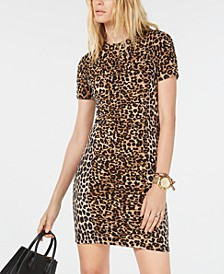 Leopard Print Shirred Dress