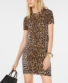 Michael Michael Kors Leopard Print Shirred Dress