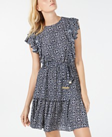 Michael Michael Kors Ruffled Tiered Dress, Regular & Petite Sizes