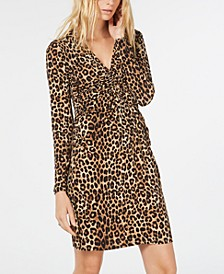 Leopard Print Ruched Dress