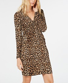 Michael Michael Kors Leopard Print Ruched Dress
