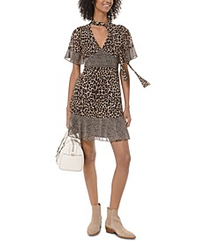 Leopard-Print Neck-Tie Dress