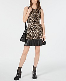 Leopard Print Contrast-Tier Dress