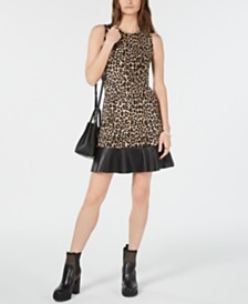 Michael Michael Kors Leopard Print Contrast-Tier Dress