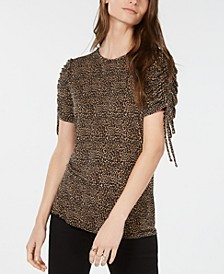 Ruched-Sleeve Leopard-Print Top