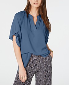 Michael Michael Kors Tie-Sleeve V-Neck Top