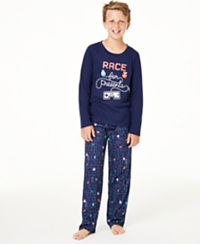 Matching Family Pajamas Kids Race For Presents Pajama Set, Created for Macy's