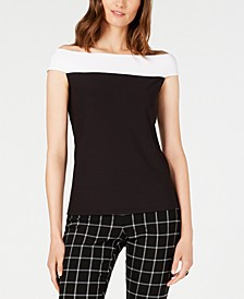 INC Colorblocked Off-The-Shoulder Top, Created for Macy's