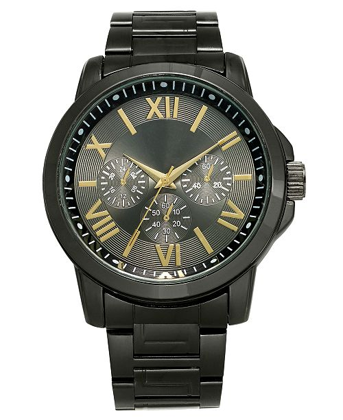 INC International Concepts INC Men's Gunmetal Gray Bracelet Watch 46mm, Created For Macy's