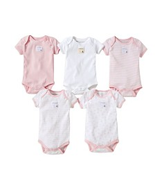 Burt's Bees Baby Organic Cotton Set of 5 Bee Essentials Short Sleeve Bodysuits