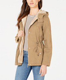 Collection B Juniors' Faux-Fur-Lined Hooded Anorak Jacket