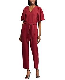 Lauren Ralph Lauren Belted Flutter-Sleeve Crepe Jumpsuit