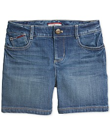 Tommy Hilfiger Adaptive Big Girls Denim Shorts with VELCRO® Closure & Magnetic Fly