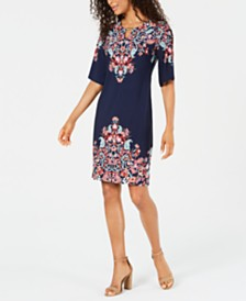 JM Collection Floral-Print Studded Dress, Created for Macy's