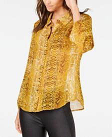 I.N.C. Snake-Embossed Shirt, Created for Macy's