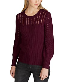 Lauren Ralph Lauren Lightweight Pointelle-Knit Sweater