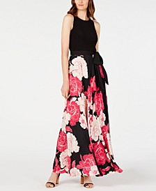 INC Petite Printed Tie-Waist Maxi Dress, Created for Macy's