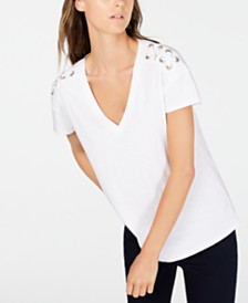 I.N.C. Cotton Embellished T-Shirt, Created for Macy's