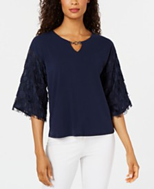 JM Collection Textured-Sleeve Top, Created for Macy's