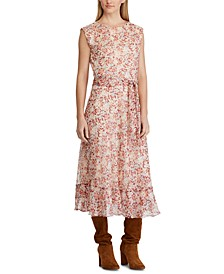 Floral-Print Belted Georgette Dress