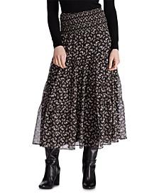 Floral-Print Tiered Georgette Peasant Skirt