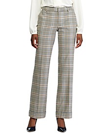 Glen Plaid-Print Wide-Leg Pants
