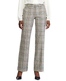 Lauren Ralph Lauren Glen Plaid-Print Wide-Leg Pants